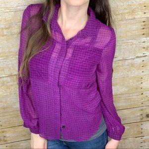 Miss Me Purple Sheer Long Sleeve Buttondown Blouse